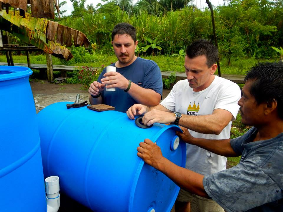 Building a water purification system for a Rama Indian village.