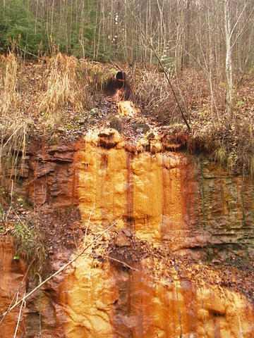Acid leaking from an abandoned coal mine.