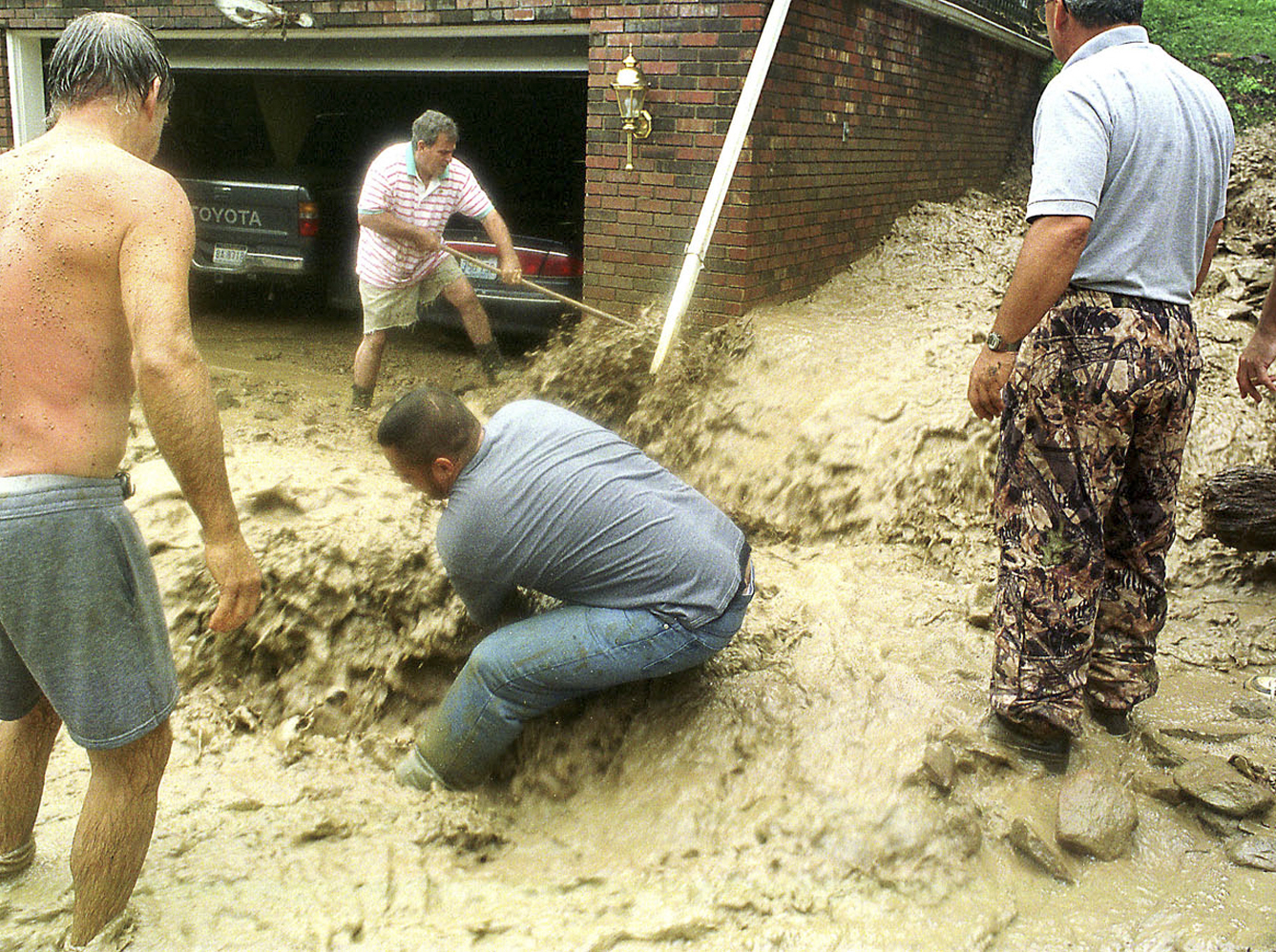 Attempting to hold back the flooding from damaging the home